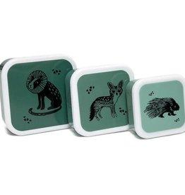 Petit Monkey Set 3 snack boxen Black Animals Salie