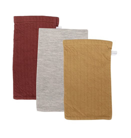 Little Dutch Little Dutch - Gants de toilette Lot de 3 Pure Indian Red / Grey / Ochre