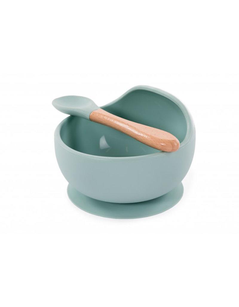 Bo Jungle Bo Jungle - B-Suction Bowl Silicone & Spoon Blue