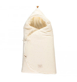 Nobodinoz Nobodinoz - Cozy natural Winter baby nest bag Honey sweet dots Natural
