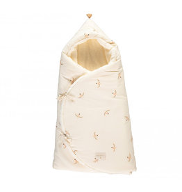 Nobodinoz Nobodinoz - Cozy natural Winter baby nest bag Nude haiku birds Natural