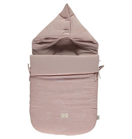Nobodinoz Nobodinoz - Passegiata Voetenzak 0-6m White bubble Misty Pink