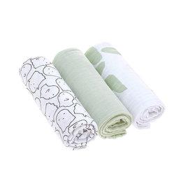 Lassig Lässig - Swaddle & Burp Blanket L 3pcs Little Spookies Olive