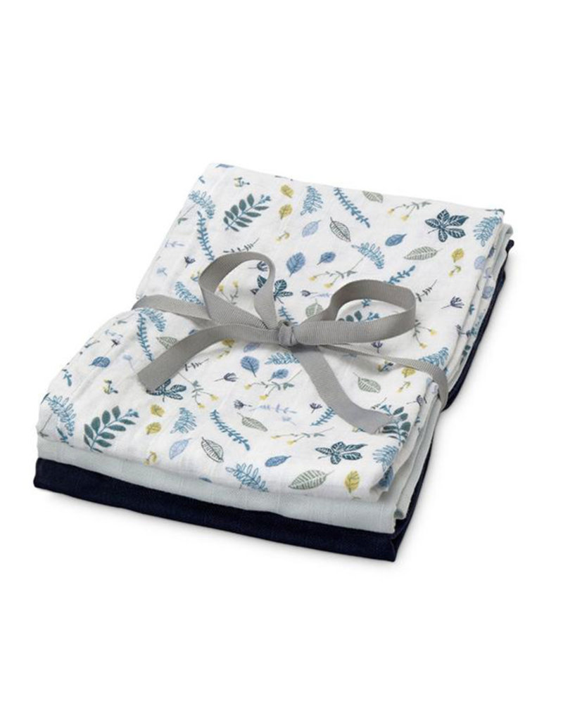 Cam Cam Cam Cam - Muslin Cloth 3pcs Mix Pressed leaves Blue