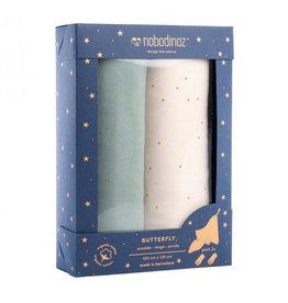 Nobodinoz Nobodinoz - Box 2 Butterfly Swaddles Pack Eden Green