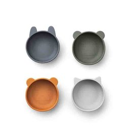 Liewood Iggy Silicone Bowls 4 Pack - Blue mix