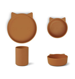 Liewood Cyrus Silicone Tableware 3 pack - Junior - Cat mustard