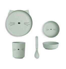 Liewood Liewood - Bamboo Tableware Box Set Cat dusty mint
