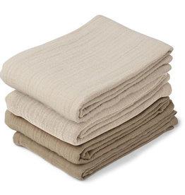 Liewood Leon Muslin Cloth 4 Pack - Natural/sandy mix