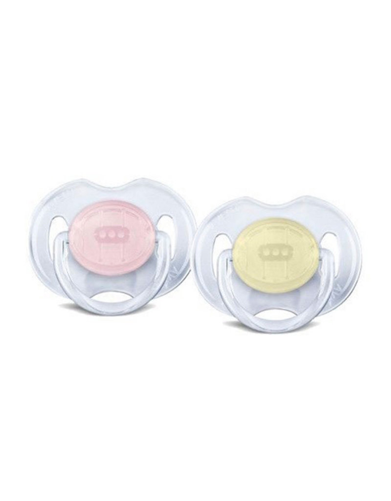 Avent Avent - Fopspeen Transparant 0-6m 2pcs Pink/Yellow