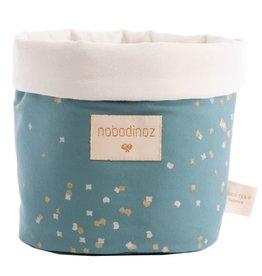 Nobodinoz Panda basket Small Gold confetti / Magic green