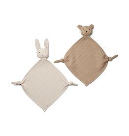 Liewood Yoko Mini Cuddle Cloth 2 Pack - Sandy/stone beige