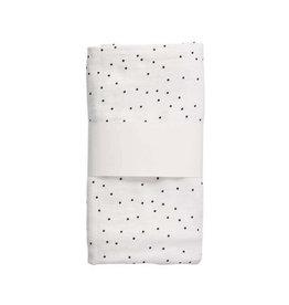 Mies & Co swaddle hydrofiel wit met zwarte stipswaddle doek xl wiegdekenhydrofiele doek stippen SWADDLE XL ADORABLE DOT