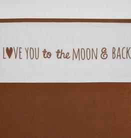 Meyco LEDIKANTLAKEN LOVE YOU TO THE MOON & BACK - CAMEL - 100X150CM