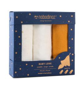 Nobodinoz Box 3 Baby Love swaddles • yellow