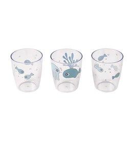 Done by Deer Yummy mini glass 3 pcs Sea friends Blue
