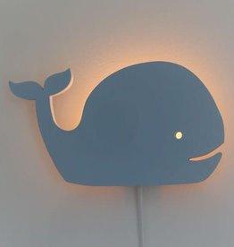 Toddie Wandlamp kinderkamer Walvis - Blauwe houten lamp voor aan de muur