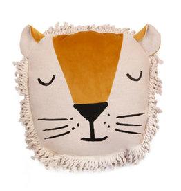 Nobodinoz Lion cushion Farniete yellow
