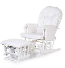 Childhome Gliding Chair Schommelstoel Rond Met Voetsteun - PU Leder Pvc Polyester Wit