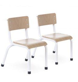 Childhome Kinderstoeltjes - Metaal Hout Naturel Wit - 2 Stuks