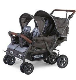 Childhome Quadruple Wandelwagen Met Autobrake + Regenhoes + Zonnekappen - Antraciet
