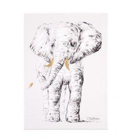 Childhome Schilderij - Olifant + Goud - 30x40 Cm