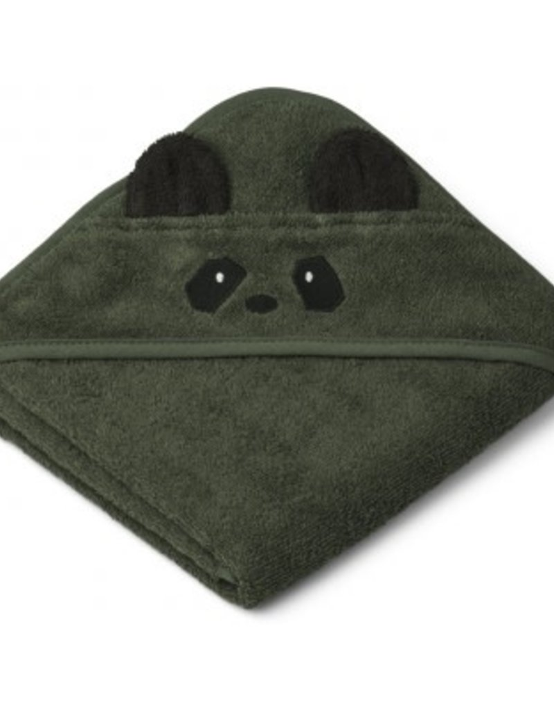 Liewood Albert Hooded Baby Towel - Panda hunter green