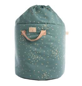 Nobodinoz Bamboo toy bag • gold confetti magic green - Small