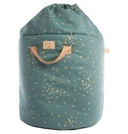 Nobodinoz Bamboo toy bag • gold confetti magic green - Large