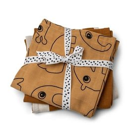 Done by Deer Burp cloth 3-pack - GOTS - Deer friends Mustard