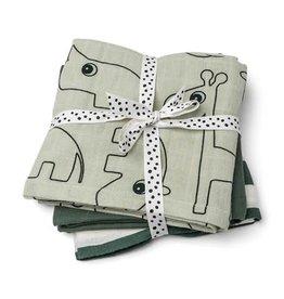 Done by Deer Burp cloth 3-pack - GOTS - Deer friends Green