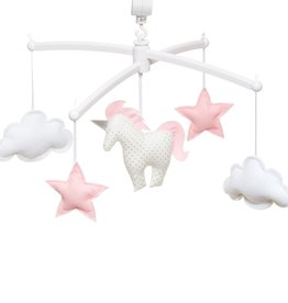 Pouce et Lina WHITE AND PINK UNICORN MOBILE