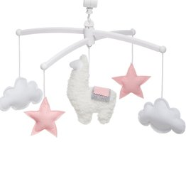 Pouce et Lina PINK AND GREY LLAMA MOBILE