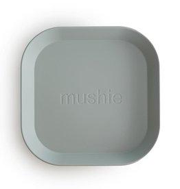 Mushie Square Dinnerware Plates, Set of 2 (Sage)