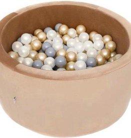 Misioo Ronde Ballenbad 90x40 Velvet Goud - Ballenbak met 300 ballen - Goud, Wit, Grijs