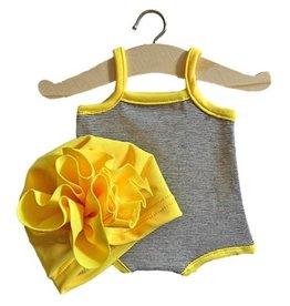 "Minikane Maillot ""GILDA"" en jersey à mini rayure et son turban  Fleur Jaune fluo"