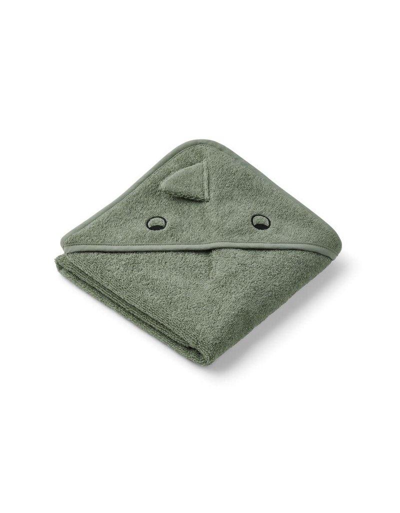 Liewood Albert Hooded Baby Towel - Dino faune green
