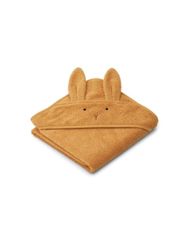 Liewood Albert Hooded Baby Towel - Rabbit mustard