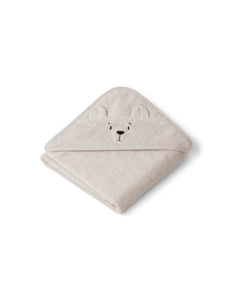 Liewood Albert Hooded Baby Towel - Polar bear sandy