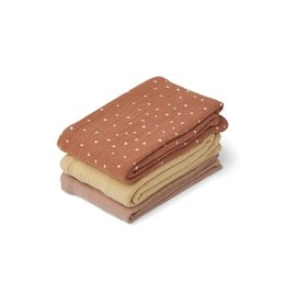 Liewood Line Muslin Cloth 3 Pack - Confetti terracotta mix