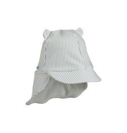 Liewood Senia sun hat seersucker - Y/D stripe: Sea blue/white