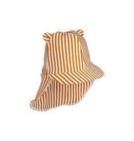 Liewood Senia sun hat seersucker - Y/D stripe: Mustard/white