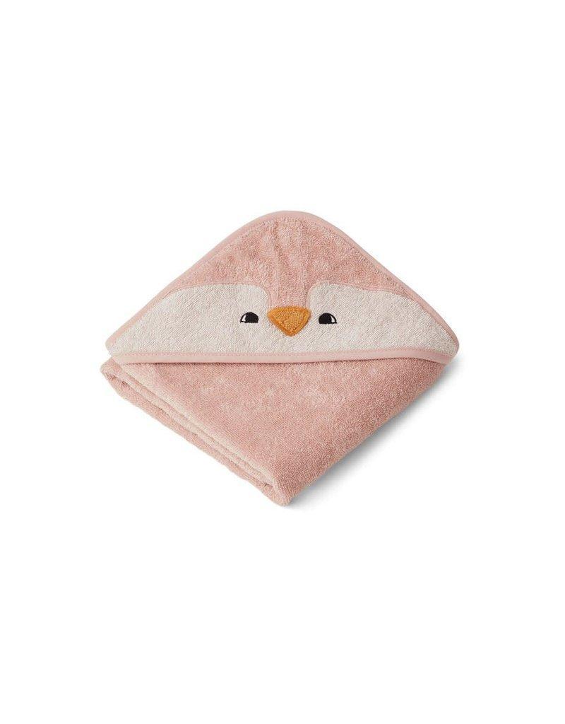 Liewood Albert Hooded Baby Towel - Penguin rose
