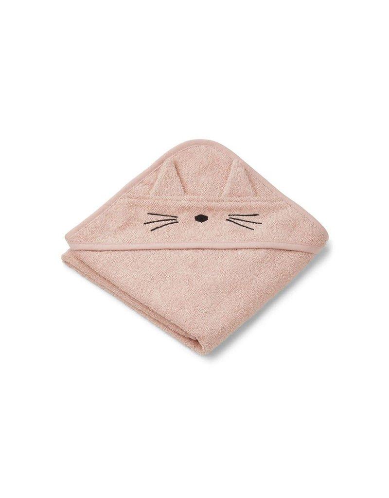 Liewood Albert Hooded Baby Towel - Cat rose
