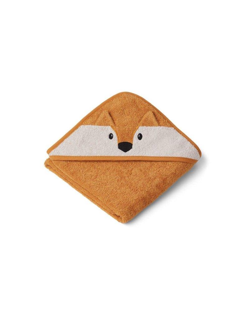 Liewood Albert Hooded Baby Towel - Fox mustard