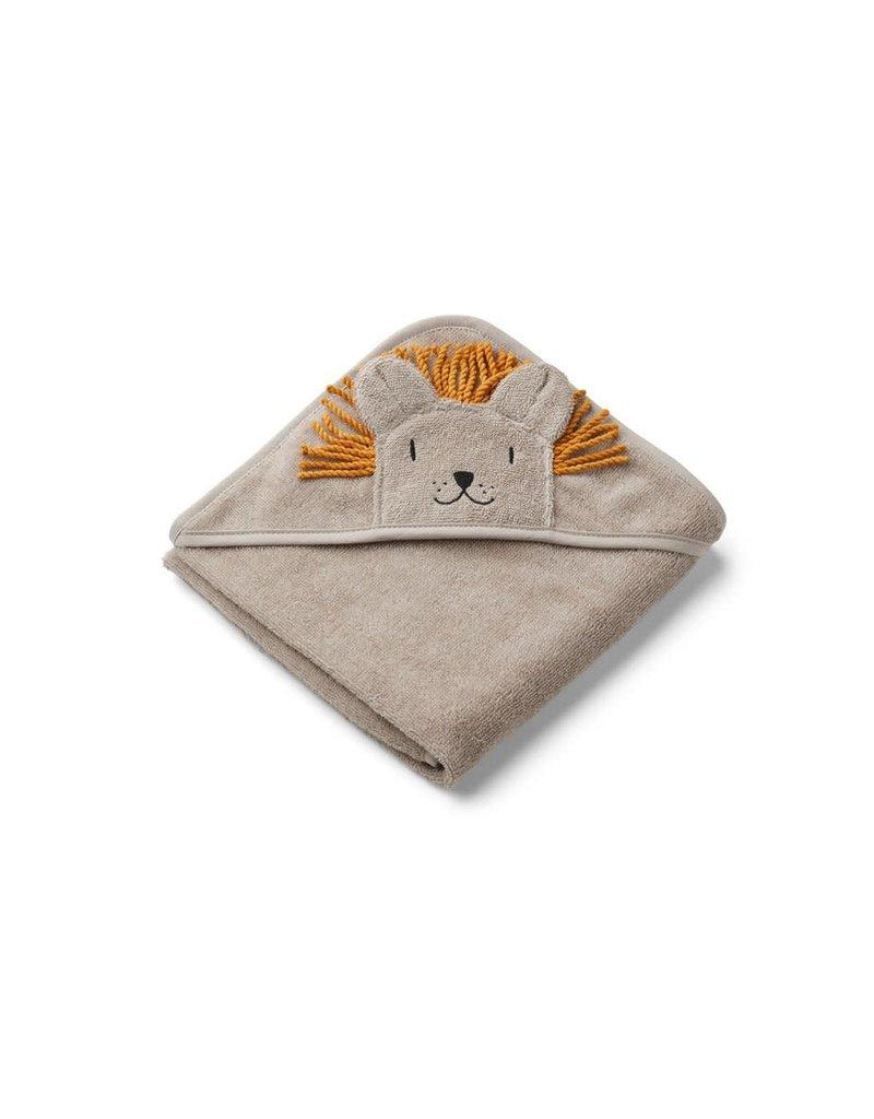 Liewood Albert Hooded Baby Towel - Lion stone beige