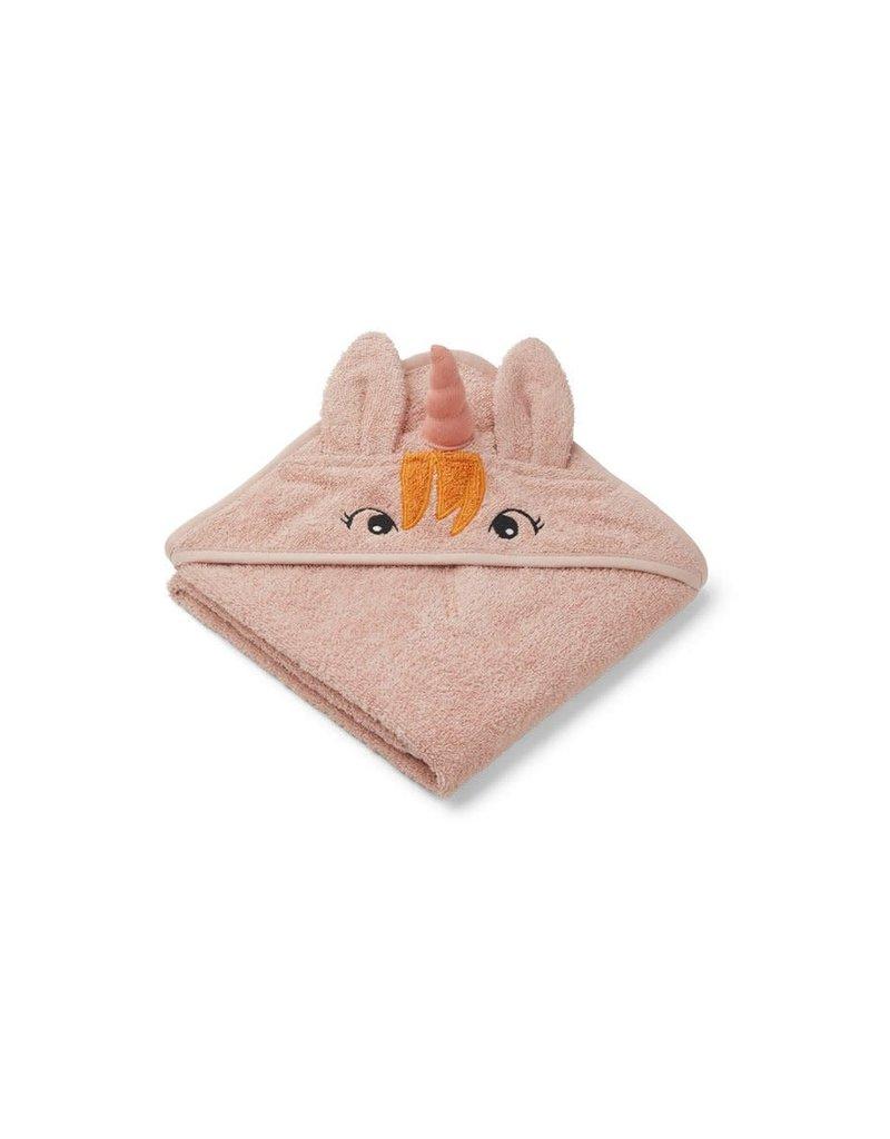 Liewood Albert Hooded Baby Towel - Unicorn sorbet rose