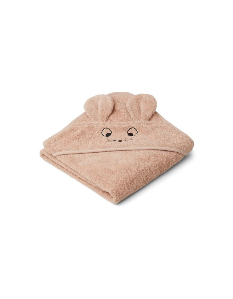 Liewood Albert Hooded Baby Towel - Mouse pale tuscany