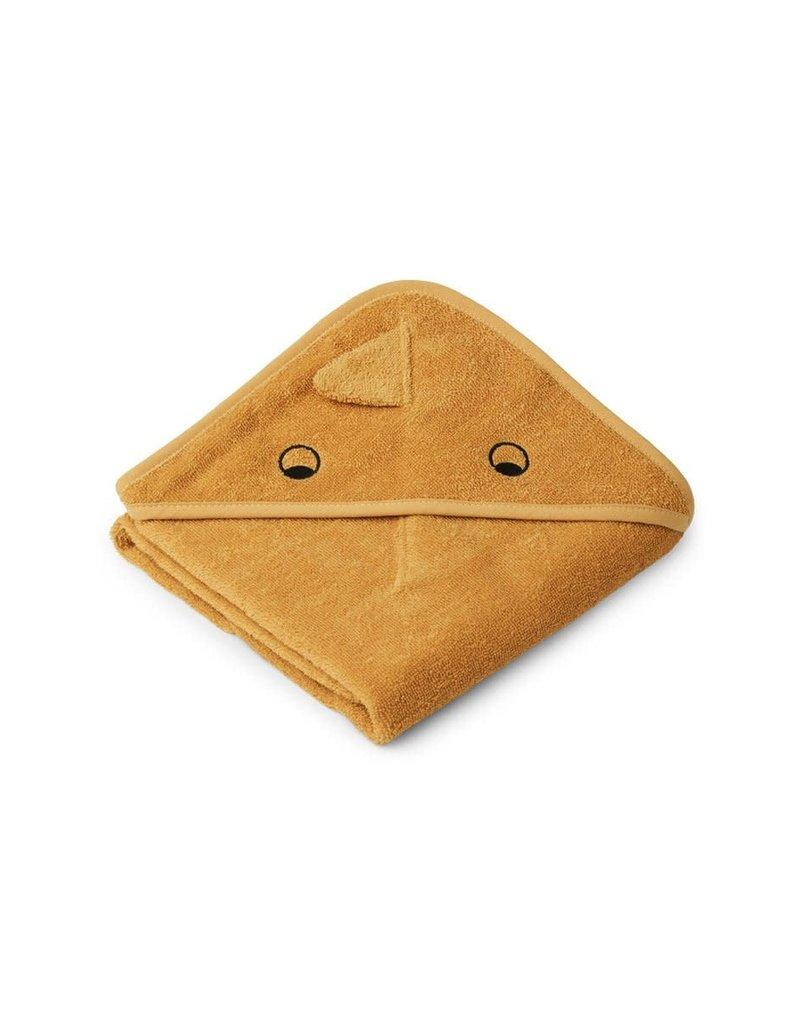Liewood Albert Hooded Baby Towel - Dino yellow mellow