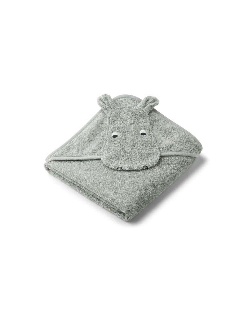 Liewood Albert Hooded Baby Towel - Hippo dove blue